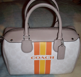 EASTER~COACH~ VARSITY STRIPE BENNETT SATCHEL IN SIGNATURE NWT $430