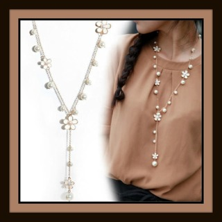 US SELLER! Ivory Enamel Flower & Shimmery Pearl Gold Plated Long Necklace w/ Pendant Drop, NEW!