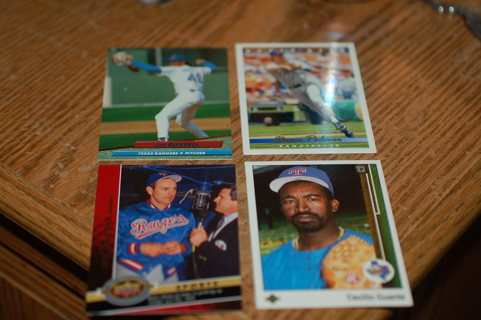 Set of 4 Texas Rangers Baseball Cards - Nolan Ryan