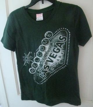Juniors Green XL (Or Ladies Medium) Las Vegas T shirt NWOT