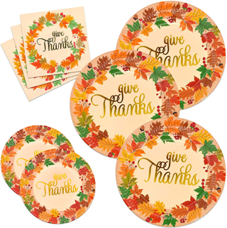 Thanksgiving Paper Plates and Napkins Disposable Dinnerware Set for 24