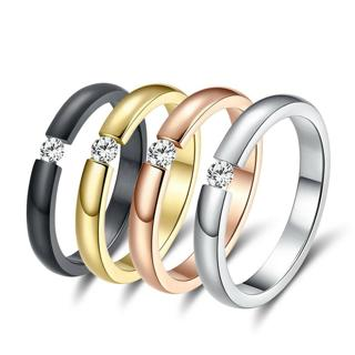 Simple Men & Women Stainless Steel Fashion Rings Size 5 -10 with1 PCS CZ Crystal