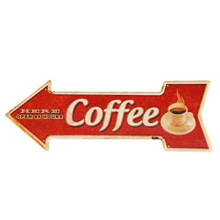Coffee Metal Tin Sign With Rustic Retro Arrow
