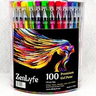 100 Gel Pens Glitter Metallic Neon Pastel Brown White Pink Great For Adult & Kids Coloring Books Art