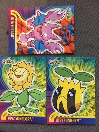 3 trading cards Pokemon