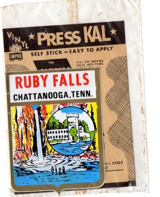 Vintage 1950's Impko Sticker/Decal: Ruby Falls, Chattanooga, Tenn