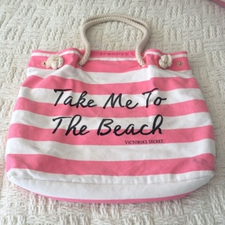 6b77c8fa7d FREE  Victoria s Secret Take Me To The Beach Large Tote Bag • Pink Stripe •  Rope Handles • Free Shipping