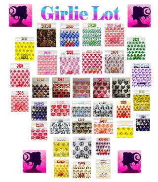 100 GIRLIE LOT LOVE HEARTS CHOCOLATE CANDY APPLE ZIPLOCK BAGGIES 5 DESIGNS ON SILVER BACKGROUND