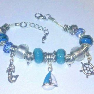Euro Bead Bracelet with Sea Charms Ships Wheel