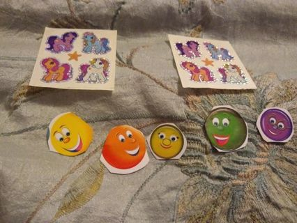 8 MY LITTLE PONY STICKERS AND 5 SMILE FACE STICKERS! ❤️FREE SHIPPING❤️