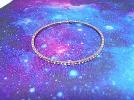 Silver Colored Rhinestone Bangle Bracelet