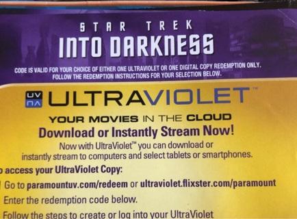 Star Trek Into Darkness digital copy