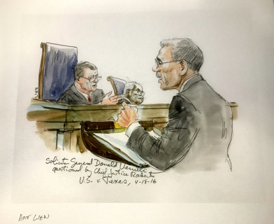 Famous Supreme Court Artist ART LIEN Watercolor Print of Chief Justice John Roberts