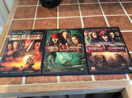 PIRATES OF THE CARIBBEAN DVD Movie Lot CURSE OF THE BLACK PEARL-DEAD MAN'S CHEST-AT WORLD'S END