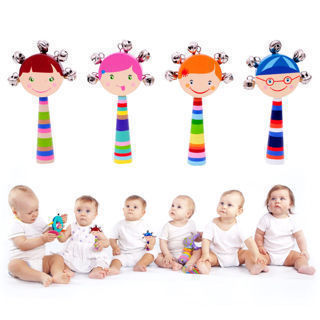 Wooden Handbells Musical Educational Toy Bed Bells Rattle Kids Baby Toys Gift