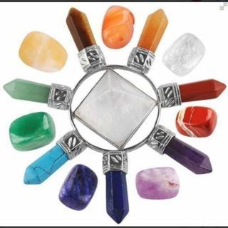 NEW Healing Crystals Set,7 Chakra Stones & Rock Quartz Energy Generator Kits for Reiki,Balancing