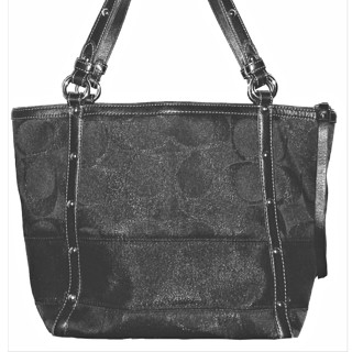 """COACH #12905 - Shimmery Black Signature """"C"""" Studded Lurex Tote!"""