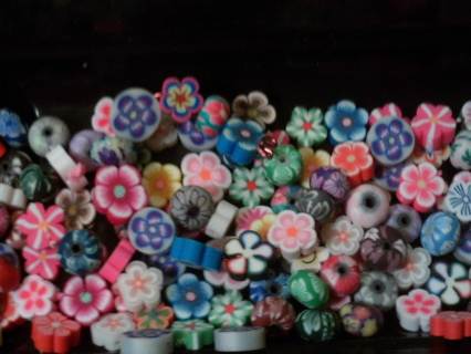 FrEe ShIp!!~~NEW 3D~~!!HOT SELL!! POLYMER CLAY SPACER BEADS MIX FLOWERS ROUND EUROPEAN 10 CHARMS