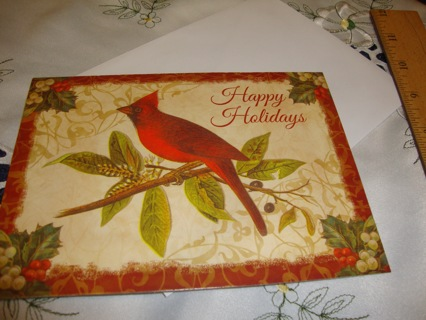 #9 Colonial Williamsburg Cardinal Bird, Christmas Card ~ Free SHipping