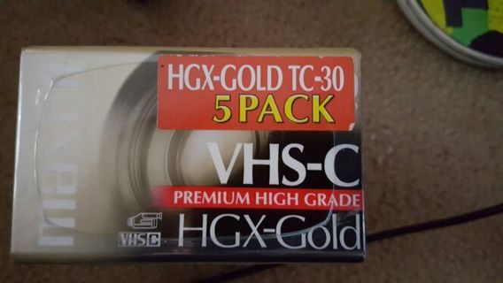 VHS-C 5 PACK BLANK TAPES. STILL HAVE AN OLD SCHOOL VIDEO CAMERA?