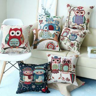 Vintage Owl Cotton Linen Pillow Case Sofa Waist Throw Cushion Cover Home Decor