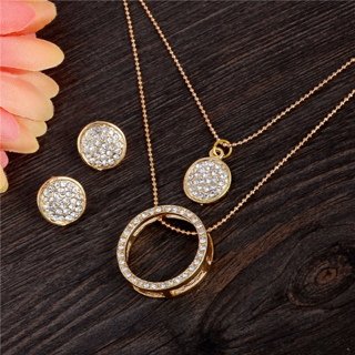 Gold Color Crystal Classic Hollow necklace pendant earrings