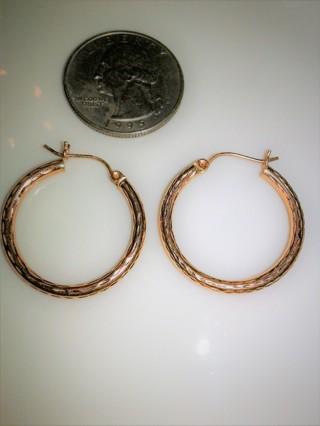 ~14k Diamond Cut Rose Gold Large H✿✿P Earrings~