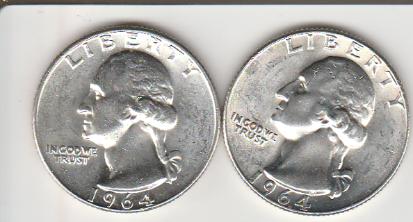 Two Silver Washington Quarters