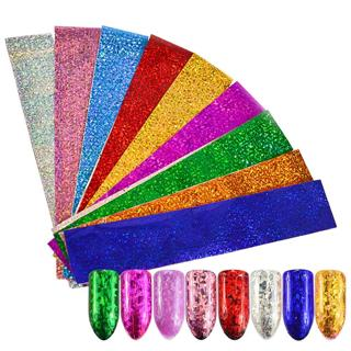 9 Sheets Starry Sky Laser Nail Foils Colorful Shimmer Transfer Sticker DIY Holographic Nail Tips F