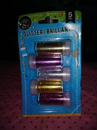 ❤❤❤️BRAND NEW 5 COUNT PACK OF COLORED GLITTER SHAKERS❤❤❤