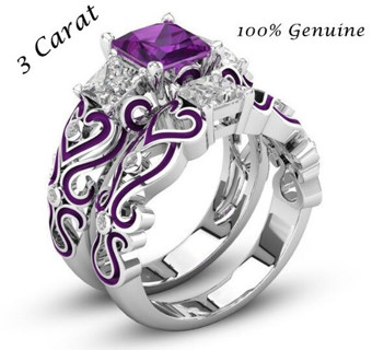 size 7 2PCS Brilliant 3 Carat Purple Square Cut Ring Set