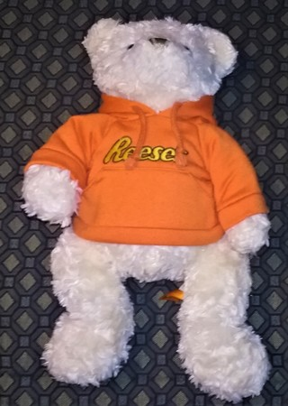 """2013 Hershey Co. Reese's white stuffed bear in orange hoody - 15"""" tall  13 oz.  Excellent condition"""