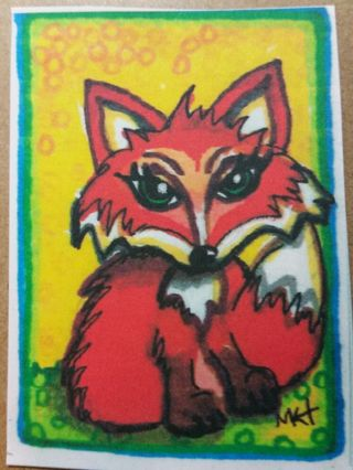 Foxy/fox -My Original MK Art / Drawing ATC / ACEO print enhanced with gel pens