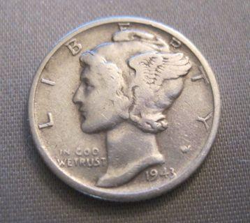 Mercury Condition 90 Silver Dime Coin Good P Circulated S 1943 10c
