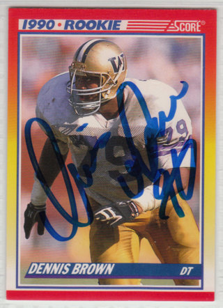 1990 Score Dennis Brown autograph RC