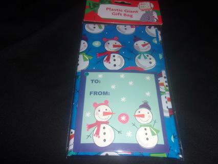 "Giant Christmas Gift Bag, 1 PC Snowman Plastic Gift Bag (36""x44"") with Card"