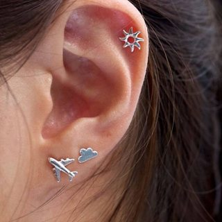 3 Pcs/set Women's Simple Silver Airplane Cloud Sun Stud Earrings Set Cute Jewelry Accessories