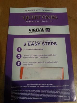 The Quiet Ones digital ultraviolet copy.