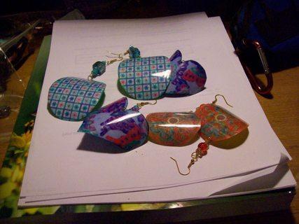 3 pair handmade earrings (upcycled)