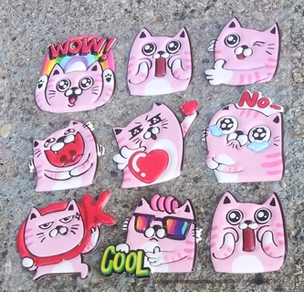 PINK CAT PUFFY RUBBER STICKERS LOT 1