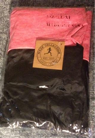 BNIP Black & Pink Ladies' Tummy Control Fold-over Space Dye Leggings. Size L / XL. FREE Shipping!