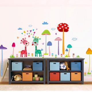 Free: Cartoon Mushroom Forest Wall Stickers Removable Vinyl ...