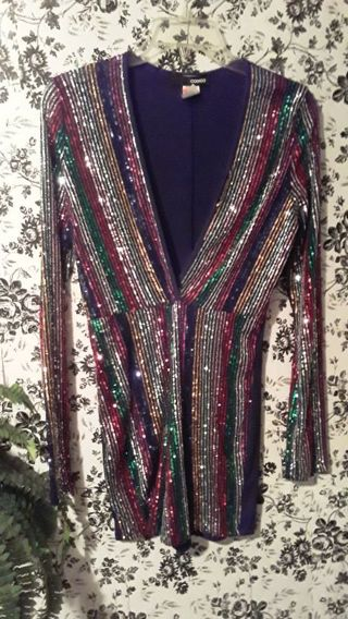 Size large sparkly/sequin long sleeve women's romper