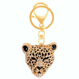 ✿ Leopard Head Gold Tone Crystal Keyring -NEW