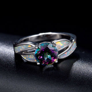 Fashion Women Jewelry Rainbow Crystal White Fire Opal Silver Plated Wedding Ring