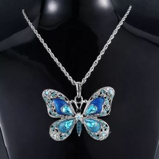 Crystal Vintage Butterfly necklace for Women Jewelry Color Antique Animal Necklace