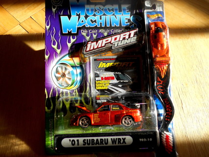 Muscle Machines Diecast 2001 Subaru WRX + Hot Wheels toothbrush Copper color import tuner car