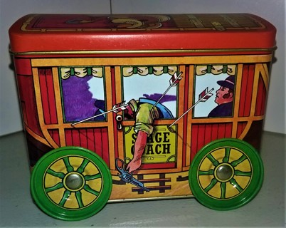 "Tin Stage Coach with wheels for collectibles - size 4 1/2"" x 4"" x 3 1/2"" - Like New"