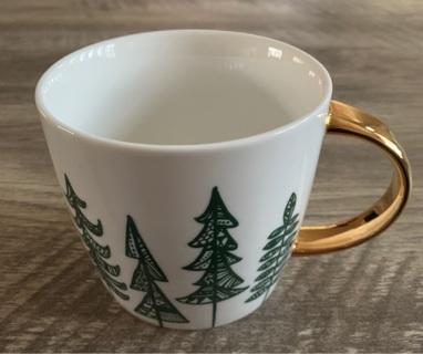 Starbucks Pine Christmas Trees Mug 2015 Gold Handle 14 oz