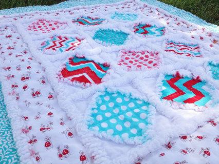 Handmade baby rag quilt crib nap playpen blanket Aqua Chevrons mushrooms Dots Travel